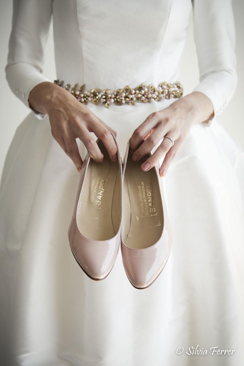 zapatos de novia en rosa palo