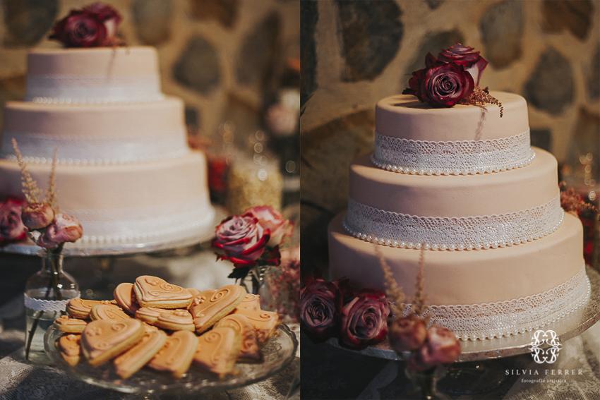 Tarta rosa fondant para boda en Murcia